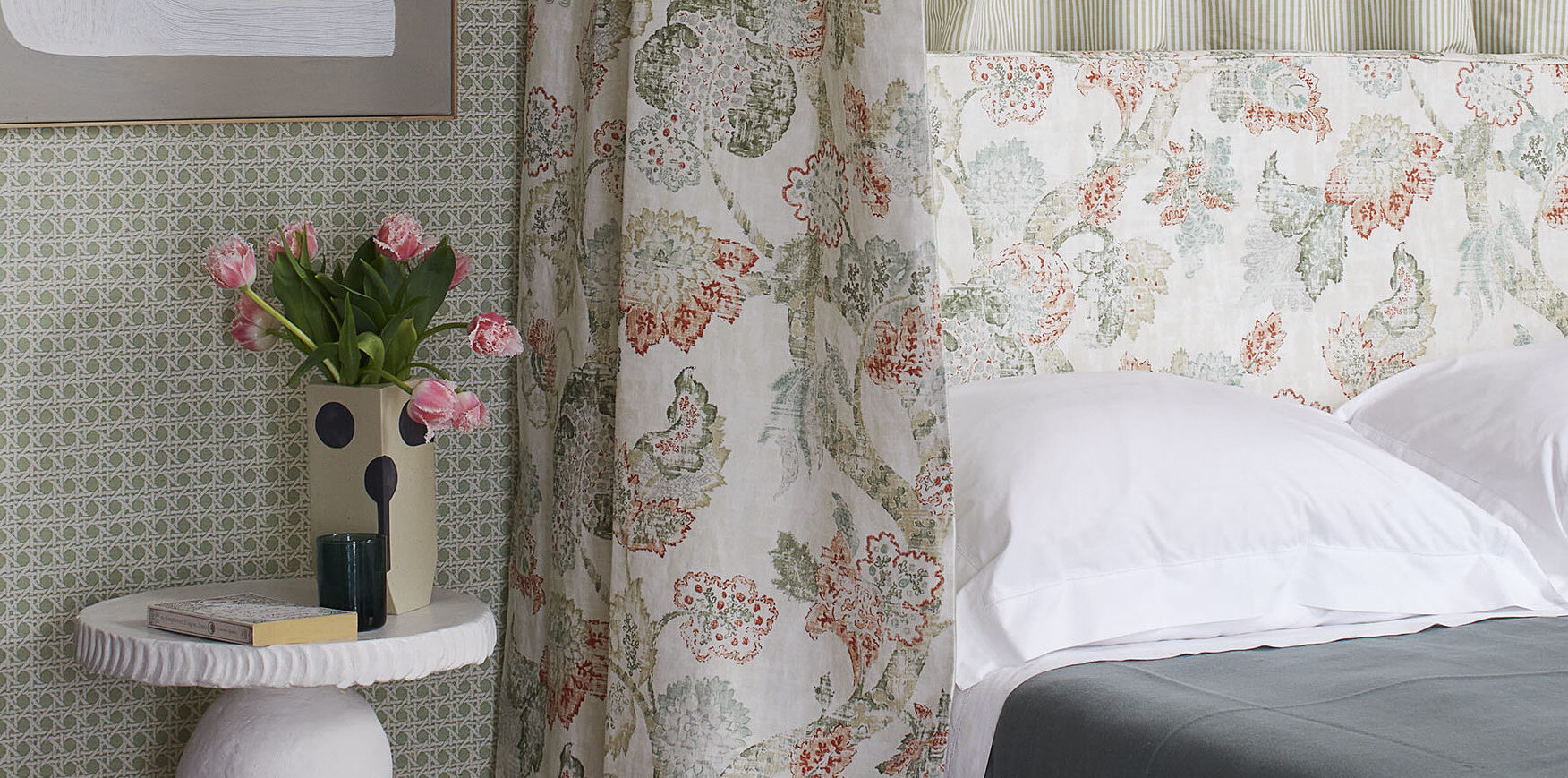 Bedroom decorated in Spring 2021 Madeaux fabrics